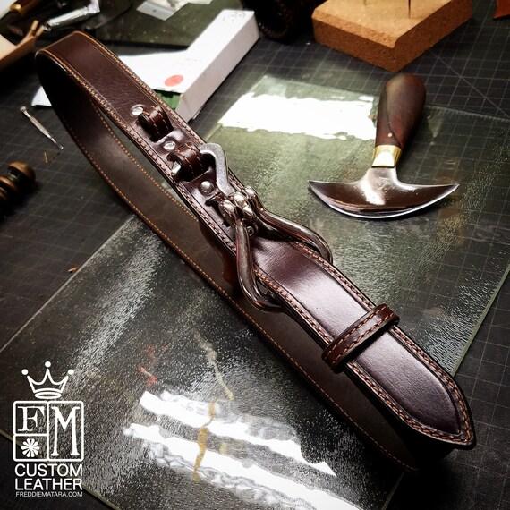 Brown Leather Horse Pick Belt Custom Made vintage look handmade for YOU in New York   by Freddie Matara