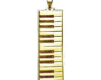 Keyboard Necklace in Sterling Silver and Gold Vermeil, Keyboard Charm, Keyboard Pendant, Keyboard Necklace