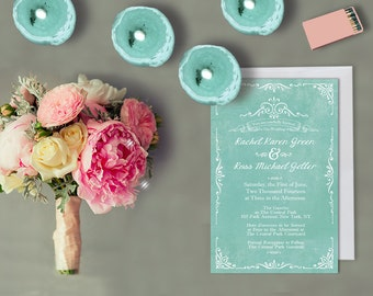 Mint Green Wedding Invitations for Shabby Chic Weddings / Vintage-Inspired Invites / Rustic Weddings / PRINTED Wedding Cards