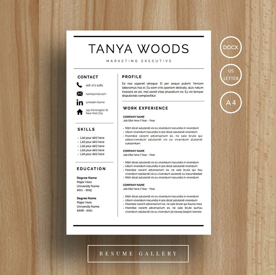 Professional Resume Template Cv Template Cover Letter