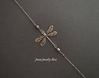 Silver dragonfly bracelet with freshwater pearls, Silver dragonfly jewelry, Silver dragonfly bracelet, Silver insect bracelet