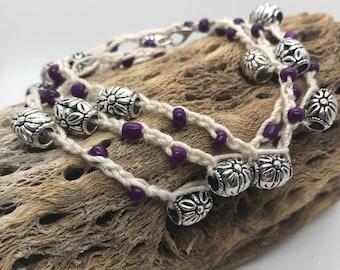 Flower purple crochet wrap bracelet