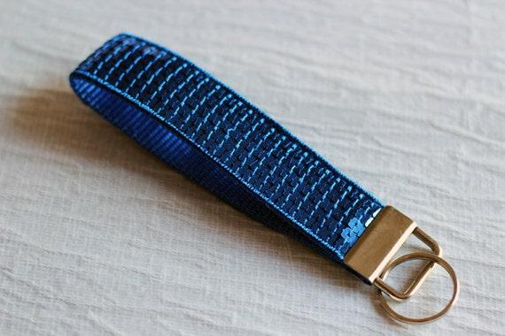 Wrist keychain - wristlet - blue - sequins - glitter - paillettes - useful - Sparkle