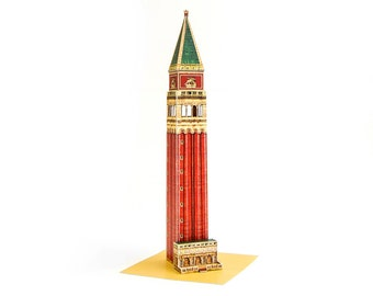 Venice Campanile || St Mark's Bell Tower || assembled papercraft model with colorful details || height 10 inches = 24 cm