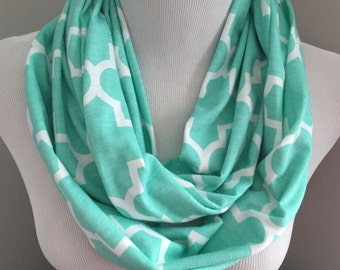 Mint Quatrefoil Infinity Scarf, Women's Fall Scarf, Gift Under 20, Fashion Scarf, Modern Scarf, Birthday Gift For Her