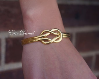 Yellow Gold Love Knot Bali Bangle Bracelet, Sterling Silver, Loveknot, Infinity Bangle, Love Knot Bangle, Gold Love Knot Bangle, Bali Bangle
