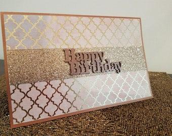 Copper Lattice Birthday Card