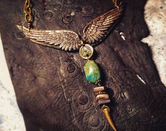 Winged All Seeing Eye Turquoise Necklace