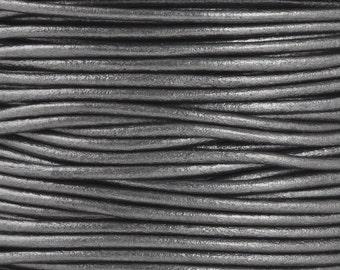 Leather-2mm Round Cord-Soft-Metallic Gunmetal-2 Meters