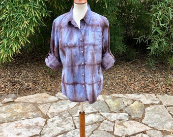 Shibori button down shirt, blue and brown tie dyed small shirt, upcycled button down