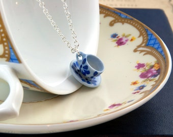 Blue and White Teacup Necklace - Tea Lover Gift - Teacup Jewellery