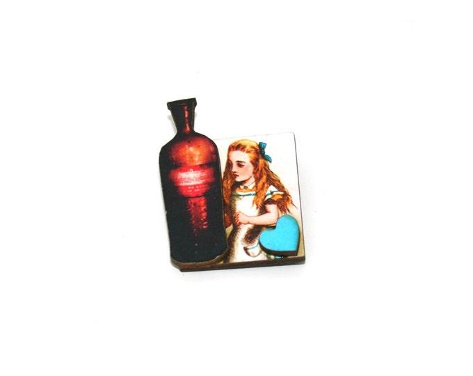Alice in Wonderland Brooch, Drink Me Brooch, Tenniel Illustration, Altered Art, Mixed Media, Wood Jewelry