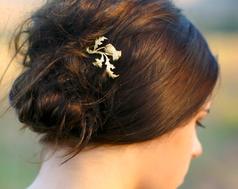 gold scottish thistle hair pin  branch, leaf & flower scotland leaf bobby pin scottish wedding hair accessory gift for her