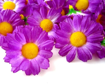 25 Violet Gerbera Daisy Heads - Artificial Silk Flower - 1.75 inches - Wholesale Lot - for Wedding work, Make Hair clips