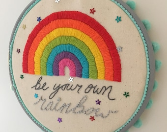 Rainbow embroidery - positive quote, hoop art, home decor, nursery, made to order