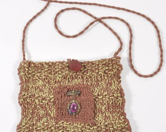 Hand Knit Linen Brown Shoulder Bag - Pistachio Nut