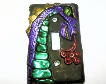 Fire Breathing Purple Dragon Light Switch - Polymer Clay Switch Plate Cover - Decorative Light Switch plate Boys Room- Man Cave