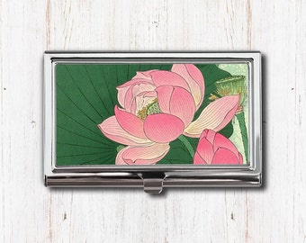 Lotus business card etsy pink lotus flower business card case business card holder card case card holder colourmoves