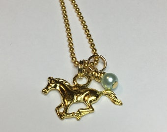 Horse necklace DAINTY Pearl necklace Charm necklace Friendship necklace Best friend necklace Horse charm Best friend jewelry BFF gift