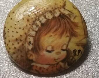 Vintage Girl Pin Brooch Signed LM
