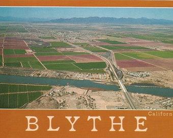 Vintage Postcard Blythe California Aerial Town View Desert Paradise United States Photochrome Card Postally Unused