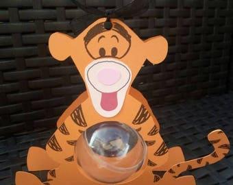 Boite à dragées tigre boule plexi ( baptême, naissance, anniversaire)