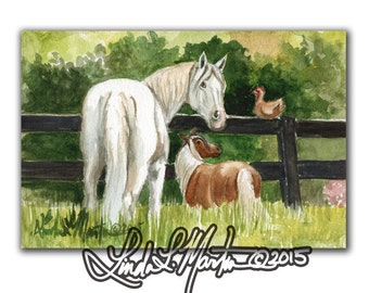 Gray Horse Hen Pony Art Pastorial LLMartin Original Watercolor Painting- Virginia Country