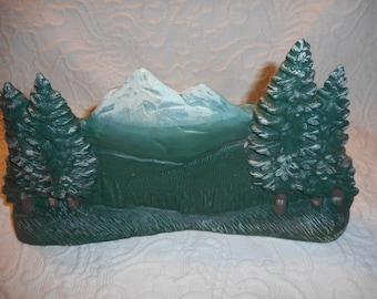 Ceramic Mountain Scene-Vintage Handmade YH-Rustic Woodland Decor