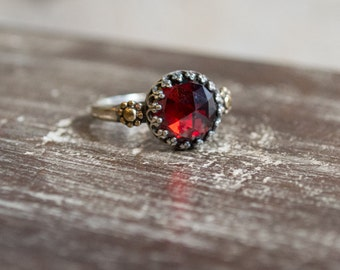 Alternative Engagement ring, dainty ring, bohemian ring, hippie ring, Garnet Ring, silver gold ring, twotone ring - The magic moment R2264
