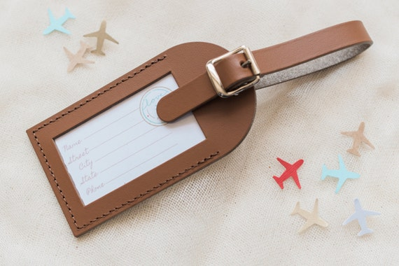 Bulk Listing - Brown Wedding Favors - Fly Away with Me Leather Luggage Tags