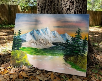"""Hand painted """"Summertime Denali"""" Acrylic on Stretched Canvas"""