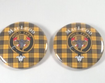 MacLeod Clan Badge Buttons - TWO - Hold Fast - Yellow Tartan- Pins - 1980s