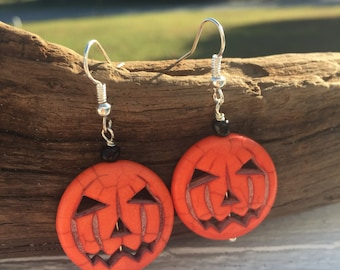 Halloween Pumpkin Earrings, Halloween Earrings, Pumpkin Jewelry, Pumpkins, Orange Dangle Earrings