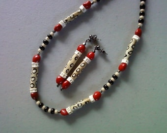 Black, Red, Tan and White Ethnic Necklace and Earrings (1362)