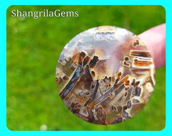 40mm Turkish Stick Agate or Tubular Agate round cabochon 40mm by 7mm approx