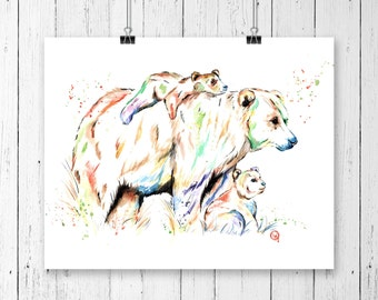 BROWN BEAR PRINT 2, bear watercolour, nursery art, gallery wall, woodland animal, woodland theme, bear watercolor, forest animal