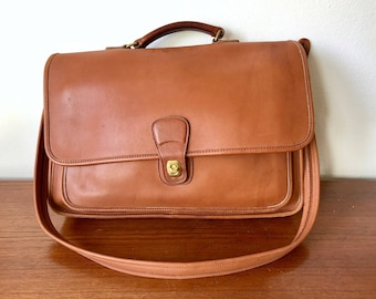 Coach Brown Leather Bag - Cognac Leather Fold Over Top Handle Briefcase - Office Messenger Bag - Brown Leather Professional Attache Handbag