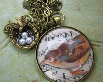 Swallow Pendant in Brass Setting Under Polished Glass with Bird's Nest Charm
