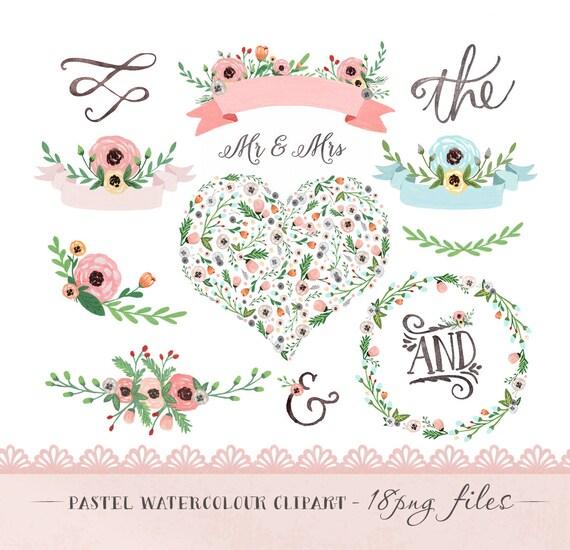 Wedding Tree Watercolor Clipart: Watercolor Flower Clipart Wedding Floral Clip Art Pastel