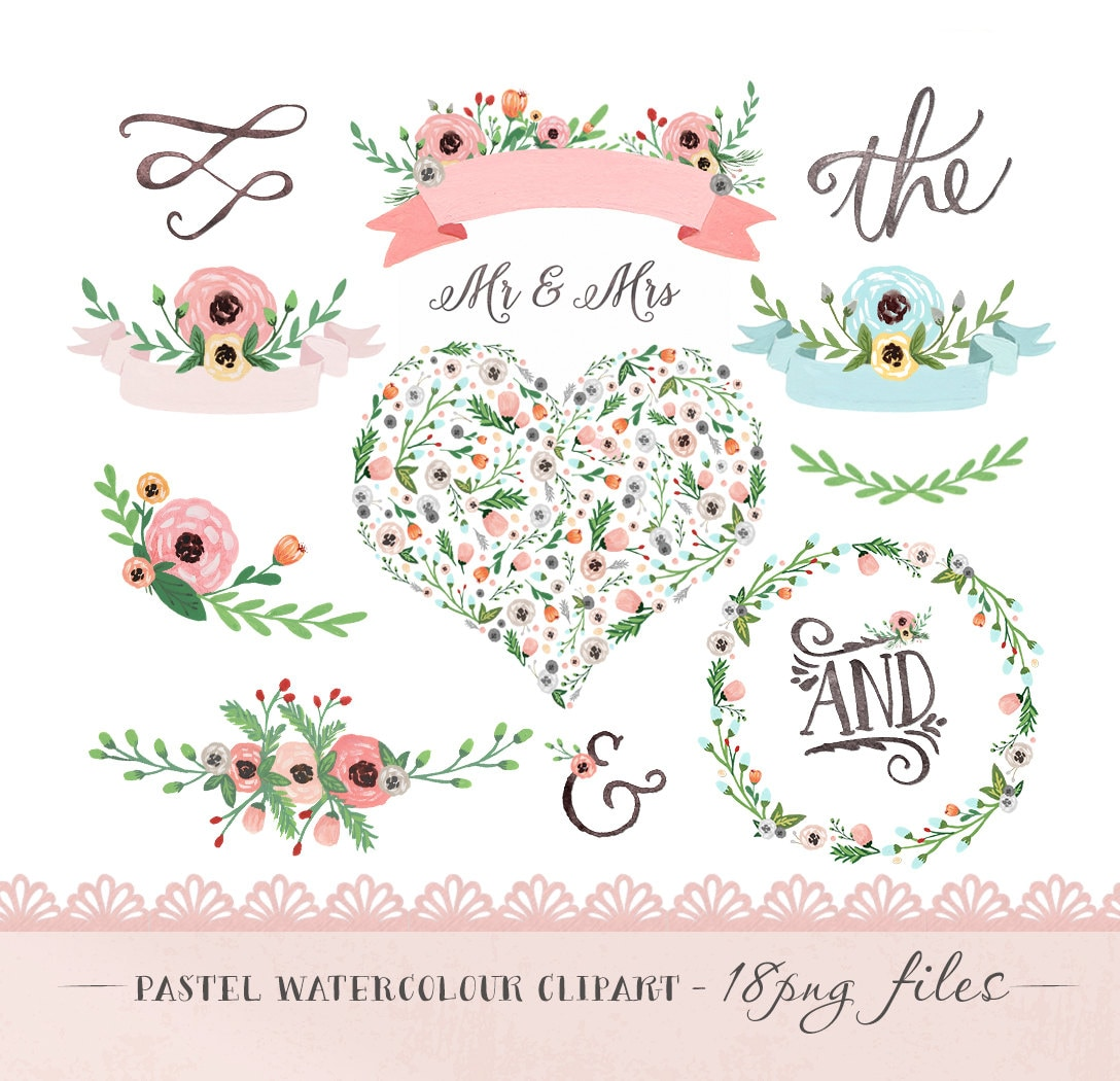 Clipart Flowers Wedding Invitation Clipart Flowers: Watercolor Flower Clipart Wedding Floral Clip Art Pastel