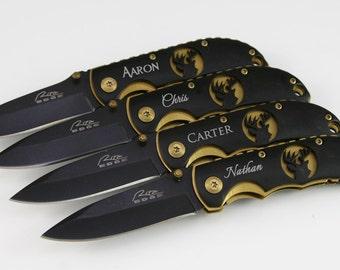 Groomsmen Gifts 1 Personalized Custom Engraved Pocket Knife Rescue Knife Groomsmen Knives Engraved Knives Black Gold Deer Knives - KFE002