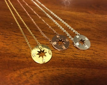 Compass - Compass Necklace - Compass Jewelry - Compass Charm - Compass Pendant - Gold Compass - Silver Compass - North Necklace - South