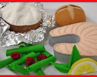 Wool Felt Salmon Steak Play Food - Waldorf Inspired Heirloom Quality Wool Felt Play Food Accessory for Imaginative Play