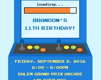 Arcade Party Invitation - (Digital File) / Video Game Birthday / Video Game Party / Arcade Birthday / Gamer Birthday / Arcade Invitation
