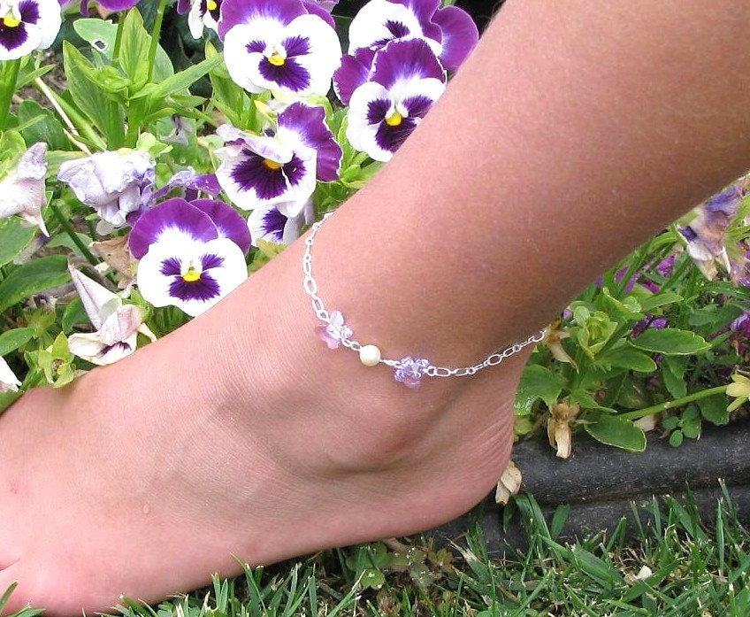 Girls Violet Butterfly Silver Anklet-Young Ladies