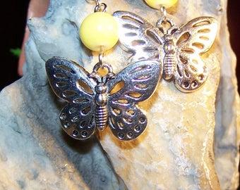Earrings Butterfly & yellow glass beads