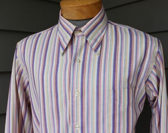 vintage 1970's  -Enro 'ENduRO'- Men's long sleeve shirt. Big collar - Candy color stripes. Worn to perfection. Large - 161/2 x 35