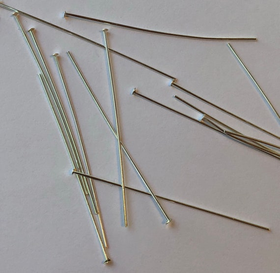 100 Pieces of Metal Jewelry Findings - Headpins, 50mm, Silver Color, Jewelry Findings, 2mm Head, Long Size, Base Metal