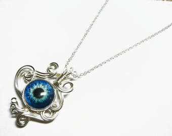 Wire Wrap Blue Zombie Eye Pendant with Sterling Silver Necklace Option
