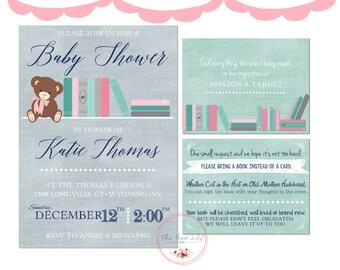 Book Theme Baby Shower Invitation Set - Girl
